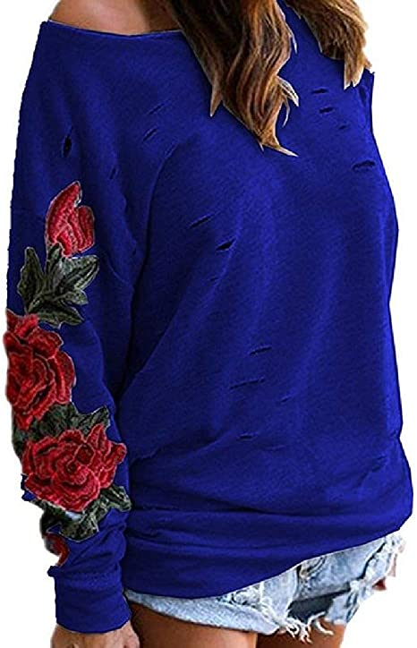 maweisong 女性の穴プルオーバーローズ刺繍プラスサイズフーティー Black XXX-Large