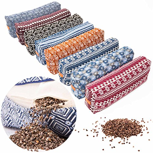 "#DoYourYoga Bolster / Cushion for Yoga, Meditation & Stress Relaxation - Filled with Natural Buckwheat (US-Farmproduct)- Size approx 26.4"" x 5.1"" / Style(5)"