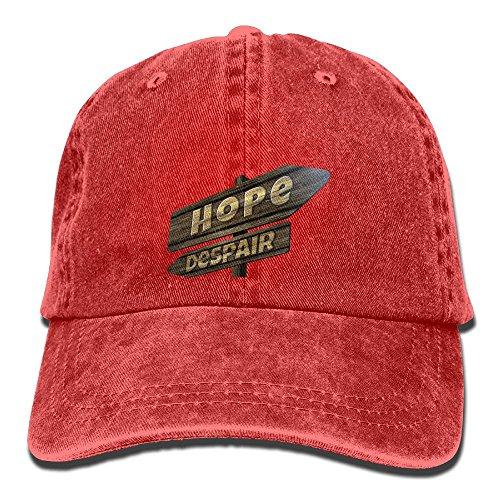 Enliqugua Mens'&Womens' Hope and Despair Unisex Cotton Denim Baseball Cap Adjustable Strap Low Profile Plain Hats Red