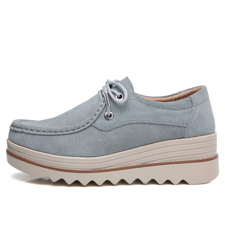 tqgold Mocassini Donna Camminare Comodo Tallone con Zeppa 5.5 Scarpe cm Moda Loafers Scarpe 5.5 da Guida  Blu 54dd42