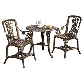 Clifford James Antique Effect Rose Design 2 Seater Bistro Patio Set With  Table UV Stabilised