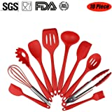 Silicone Kitchen Cooking Baking Utensils Tools Set Non-stick Heat-Resistant Scraper, Spoon, Tongs, Pasta Fork, Slotted Spoon, Spoonula, Slotted Turner, Whisk, Brush