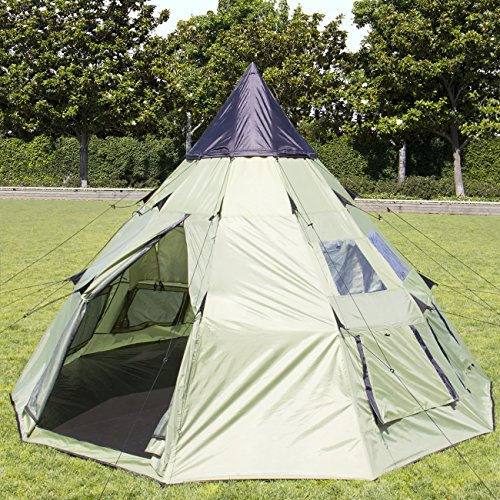 Best Choice Products 10'x10′ Teepee Camping Tent Family Outdoor Sleeping Dome W/ Carry Bag