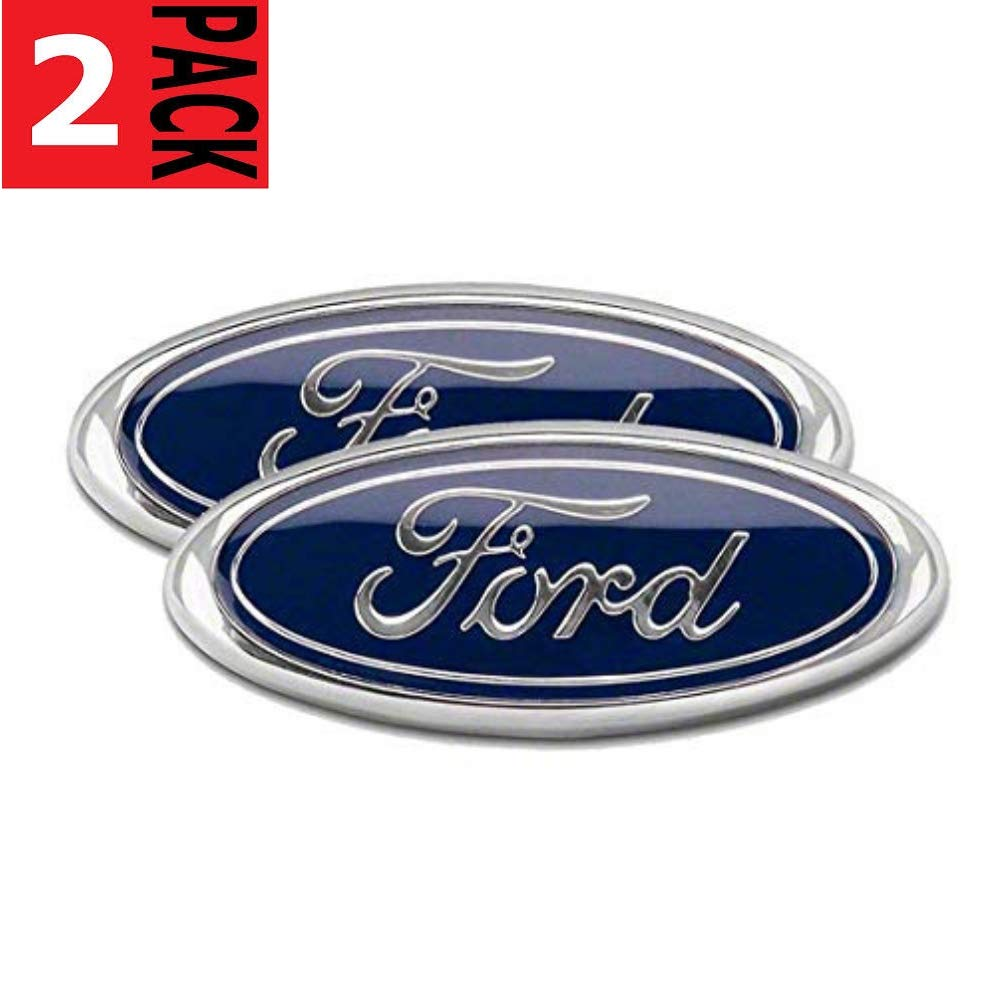2x Pack FORD F150 Dark Blue Grille Tailgate Emblem 2005-14, Oval 9''X3.5'', 3 Mounting Tabs, Also Fits 05-07 F250 F350, 11-14 Edge, 11-16 Explorer, 06-11 Ranger