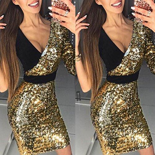 V Profonde Bling Or Femmes Sexy Or Neck Fathoit Robe Patchwork Robe Paillettes Mode Femme Dress Mini Splice Moulante Moulante w7S4SqBvzn