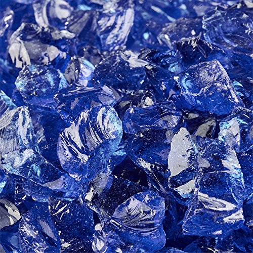 Deep Sea Blue - Crushed Fire Glass for Indoor and Outdoor Fire Pits or Fireplaces | 10 Pounds | 3/8 Inch - 1/2 Inch