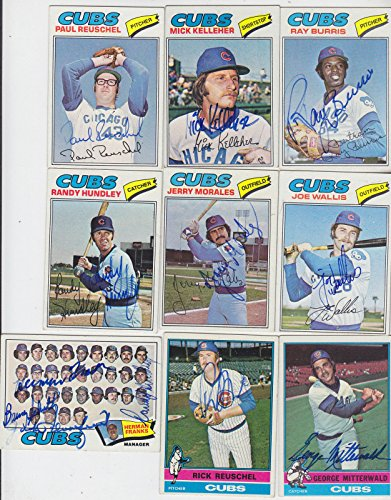 (1977 TOPPS SIGNED CARD RAY BURRIS CUBS YANKEES BREWERS A'S METS EXPOS # 190)