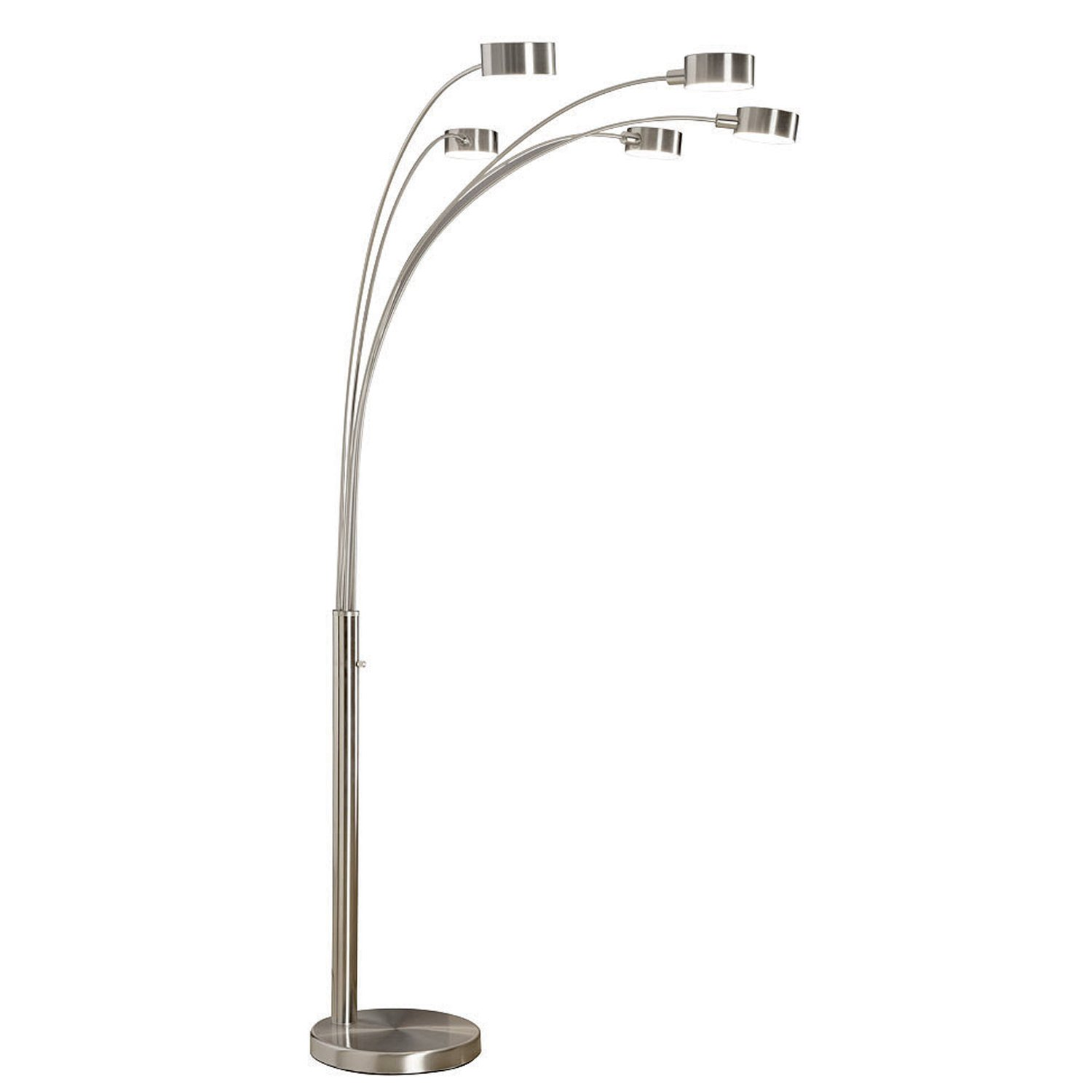 Artiva USA Micah - 5 Arc Brushed Steel Floor Lamp w/ Dimmer Switch, 360 Degree Rotatable Shades - Dim Options - Bright & Attractive - Solid Construction - Stainless Steel - Industrial & Mid-Century by Artiva USA