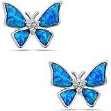 Pendientes de tuerca de plata de ley 925 con diseño de mariposa de ópalo rosa o azul