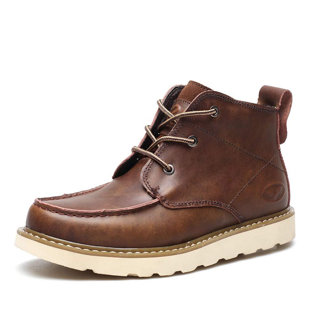 Zapatos De Hombre De Cuero Martin Botas De Senderismo Zapatos De Nieve Botas De Alta Top Casual Zapatos Fitness Y Cross Zapatos De Entrenamiento Marrón Negro,Brown,40