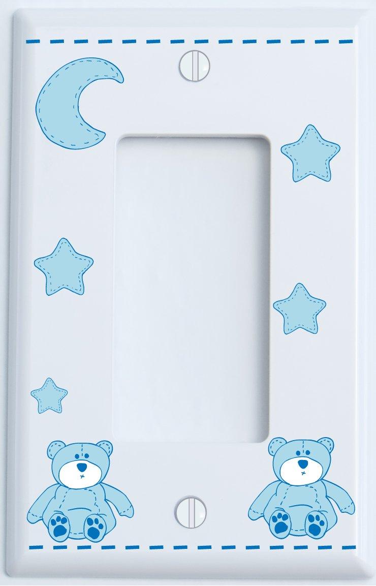 Blue Teddy Bear Light Switch Plate Single Rocker with Blue Moon and Stars / Teddy Bear Nursery Decor (Single Rocker)
