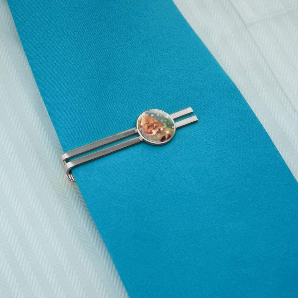 GRAPHICS /& MORE Christmas Holiday Santa Claus Tasting Snowflakes Round Tie Bar Clip Clasp Tack Silver Color Plated