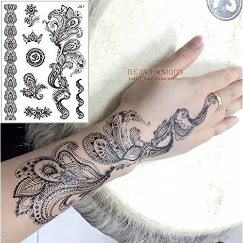 KABEER ART Henna And Lace Tattoo Stickers Temporary Tattoo Set Of 3 Different Design Sheets
