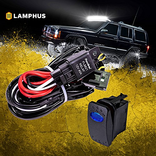 LAMPHUS 12V 40A Off Road ATV/Jeep LED Light Bar Relay Wiring Harness Kit - Blue ON/Off Switch - Off Switch Kit