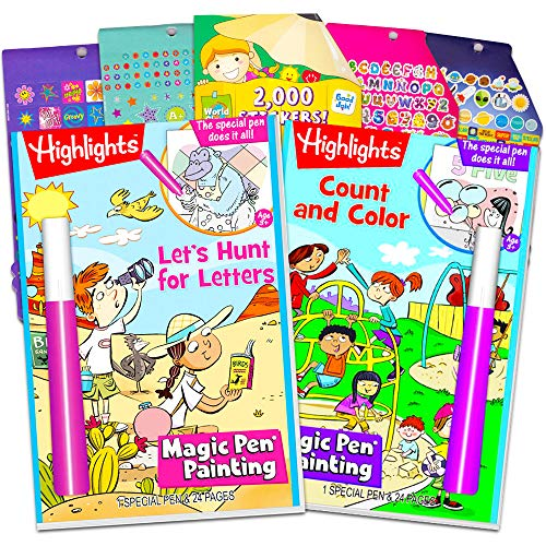 Highlights Activity Book Set for Toddler Preschool Kids, Age 3 to 5 -- 2 Invisible Ink Hidden Picture Books with Games, Puzzles, Activities, 2 Magic Pens and Over 1000 Reward Stickers]()