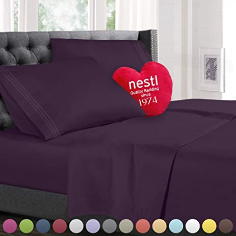 Amazoncom Cal King Size Bed Sheets Set Purple Dark Eggplant