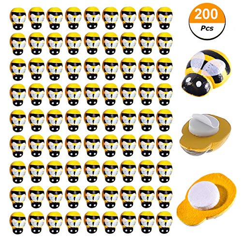 Bee Crafts For Kids - 200 PCS Tiny Wooden Bee Embellishments Painted Flatback Wood Bumble Bee Pieces with Adhesive and Velvet Bag for Craft Scrapbooking DIY Decor