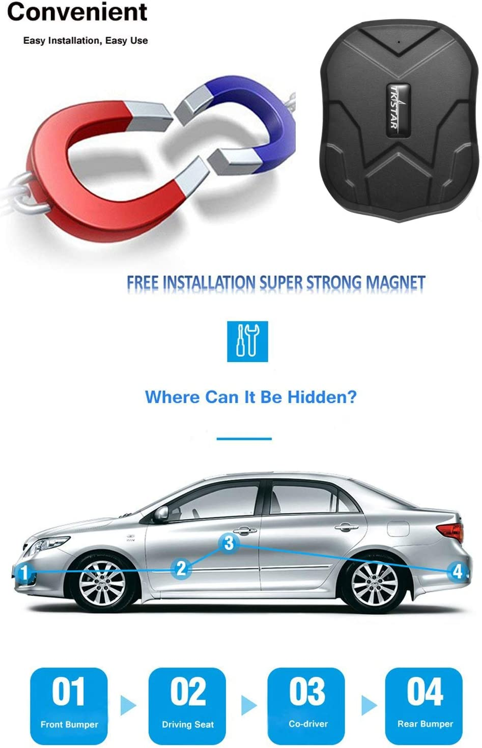 Motorcycle GPS Tracker Winnes GPS Tracker Real Time Tracking for Car Free APP Truck SIM Card Included