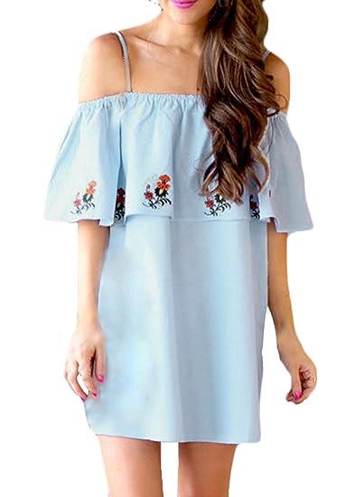 Azbro Mujer Casual Mini Vestido Estampado Floral con Volantes Fuera de Hombro, azul M: Amazon.es: Ropa y accesorios