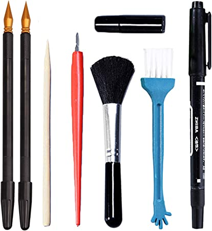 Migavan - Juego de herramientas de arte para rascar y pintar con lápiz para colorear y raspar de bambú, 8 unidades: Amazon.es: Hogar