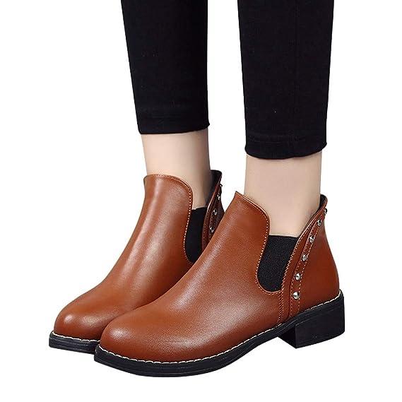 F ✈✈✈ Longra Brand Women Remaches Zapatos Planos Martain Boots