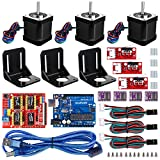 Professional 3D Printer CNC Kit for Arduino, Kuman GRBL CNC + Ramps 1.4 Shield + UNO R3 Board with Mechanical Switch DRV8825 A4988 Stepper Motor Driver with Heat Sink + NEMA 17 Stepper Motor KB02