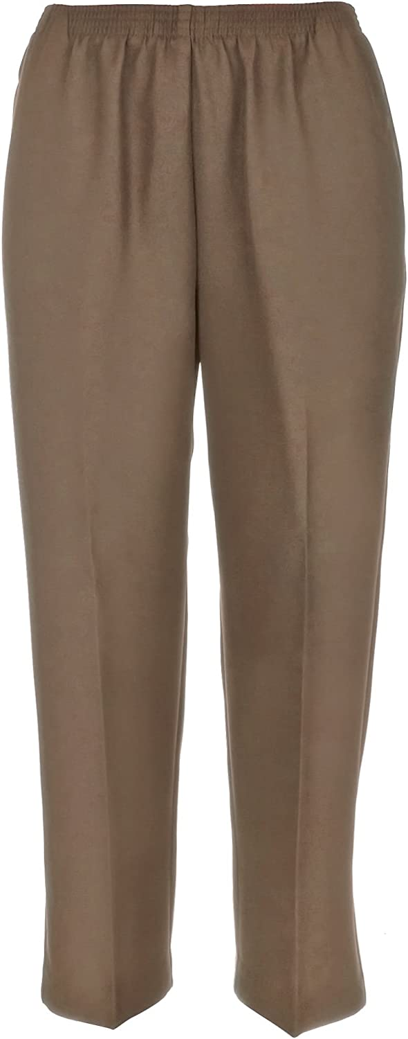Alfred Dunner Petite Classic Solid Pull On Pants 12 Tan