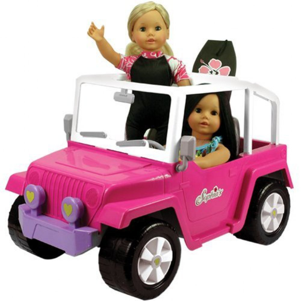 Doll Car, 4x4 Doll Beach Cruiser for 18 Inch Dolls Like American Girl, Fits Two 18' Dolls. Dolls and Doll Clothes and Doll Boogie Board Not Included Fits Two 18 Dolls. Dolls and Doll Clothes and Doll Boogie Board Not Included Sophia' s