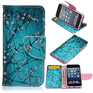 Topforcity® Peach Tree Pattern PU Leather Full Body Case with Stand and Card Holder for Apple ipod touch 6 with Screen Protector
