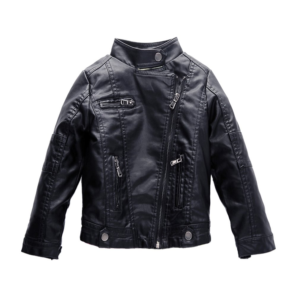 Spring& Gege Boys' Classic Stand Collar Faux Leather Jacket