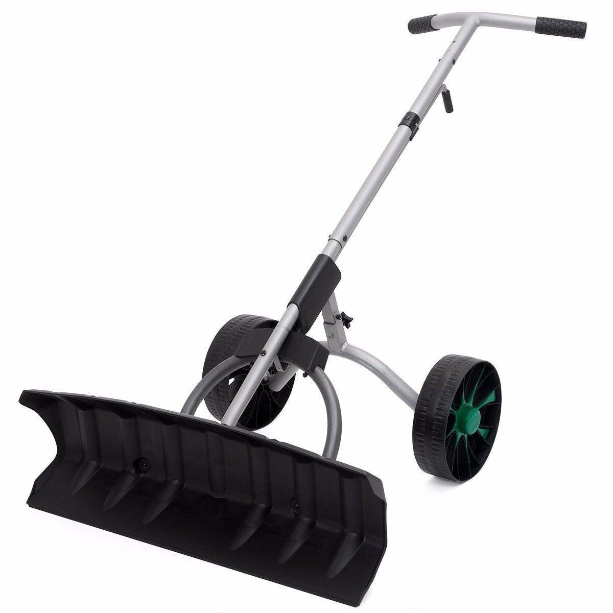 Snow Shovel Driveway Removal Blade Wheels Plow Adjustable Pusher Walk Behind