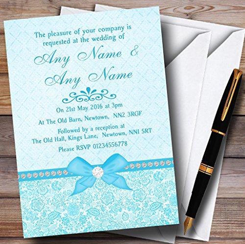 Pretty Floral Vintage Bow & Diamante Aqua Sky Blue Personalized Evening Recep.