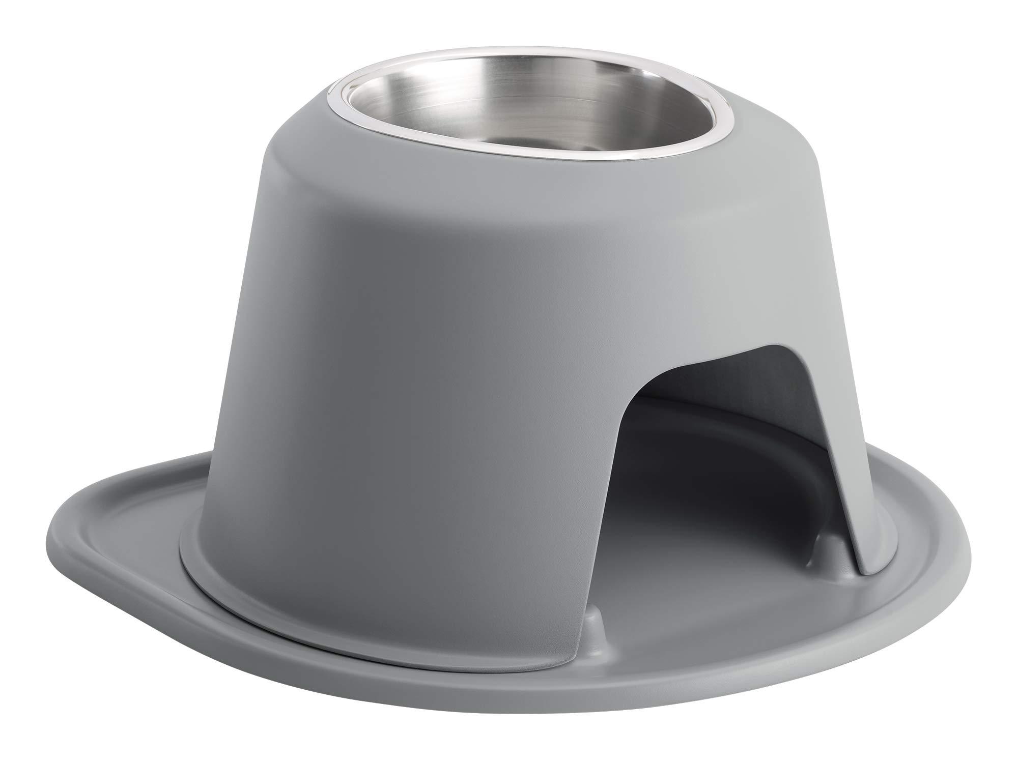 PetComfort Single High Feeding System with Standard Mat (8 inch, Dark Grey)