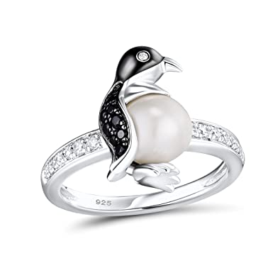 29c8a2b89 Santuzza Silver Penguin Pearl Ring Solid 925 Sterling Silver Fresh Water  White Pearl Black Spinel White