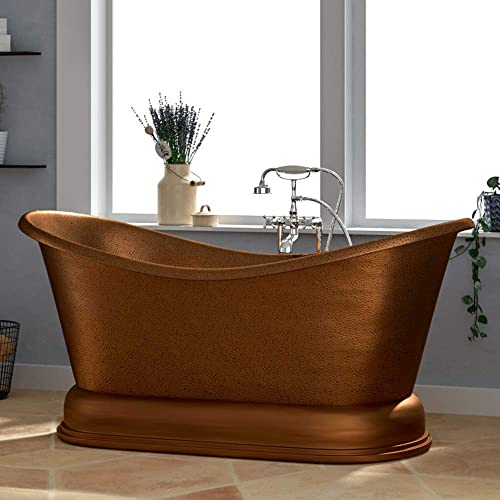 Magnus Home Products 66″ Visalia Copper Double-Slipper Roll-Top Bathtub w/Pedestal