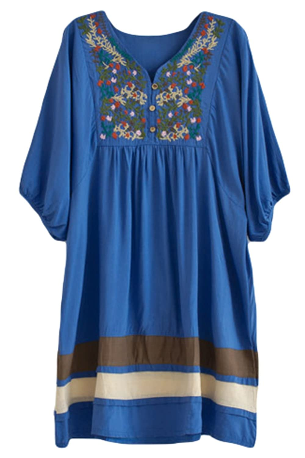 fc648c8074d Asher Fashion Women's Tunic V Neck Embroidered Peasant Bohemian Dress