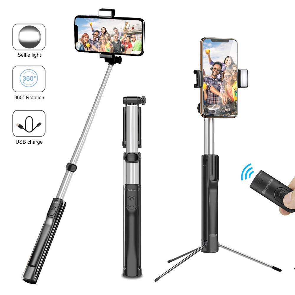 Selfie Stick Tripod, Brokuca 63 Inch Extendable Selfie Stick Monopod with Bluetooth Remote & Selfie Light, Compatible with iPhone Xs max/XS/XR/X/8/8 plus/7/7 plus/6s,Galaxy S10/S9/8 and More by Brokuca