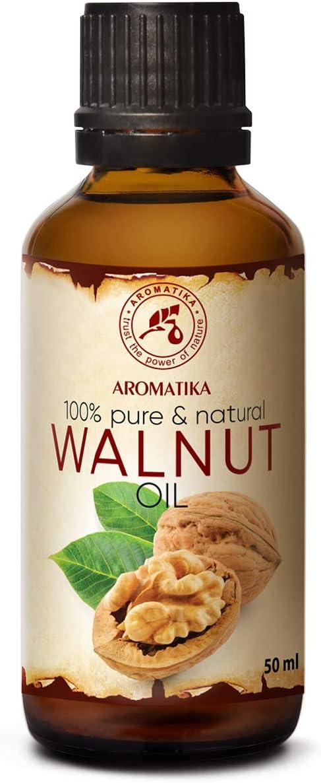 Aceite de Nuez 50ml - Juglans Regia Seed Oil - USA - 100% Puro y Natural - Aceite Base - Cuidado Intensivo - Aceite de Nuez para Rostro - Cuerpo - Cabello - Piel - Botella de Vidrio
