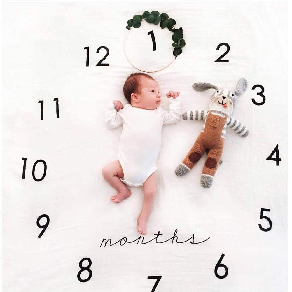 Manta para bebé recién nacido para fotos, fotografía mensual, crecimiento de los números de los hitos Ulable