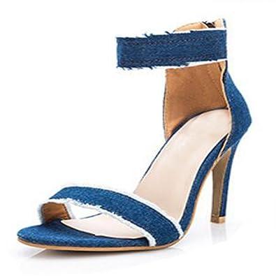 DULEE Damen und Dame Stiletto High Heel Sandalen, Blau 37