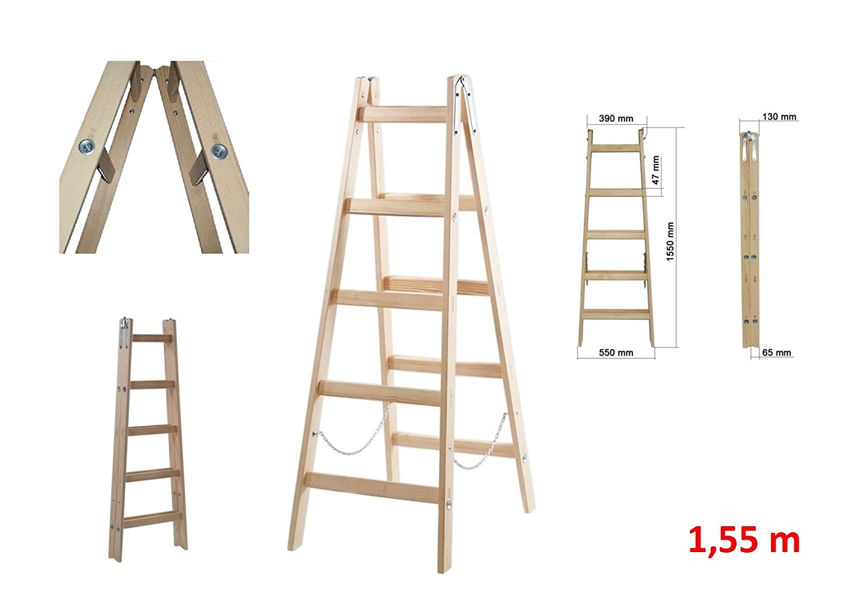 1,55 m 1,55 m Systafex PRAKTISCHE HOLZLEITER STEHLEITER KLAPPBAR 150 kg Traglast Leiter Holz Sprossenstehleiter 1,25 m 1,85 m