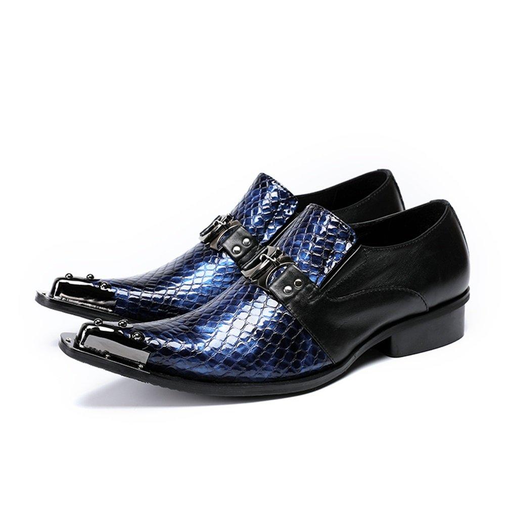 GLSHI Zapatos de Hombre de Cuero Primavera Verano Mocasines y Slip On Comfort Oxfords Hebilla de Rivet Para Boda de Fiesta y Noche Negro (Color : UN, tamaño : 46) 46|UN