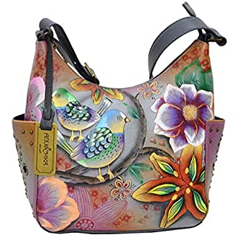Anuschka Women's Hand Painted Leather Classic Hobo With Studded Sid (Blissful Birds - Exclusive Color)