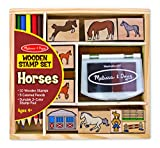 Arts & Crafts : Melissa & Doug Wooden Stamp Activity Set: Horse Stable - 10 Stamps, 5 Colored Pencils, 2-Color Stamp Pad