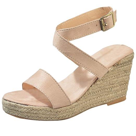 2ca1fd724f847 Amazon.com  Tsmile Women Wedge Sandals Summer Cross Strap Buckle Casual  Fish Mouth Waterproof Platform Open Toe High Heel Sandals  Clothing