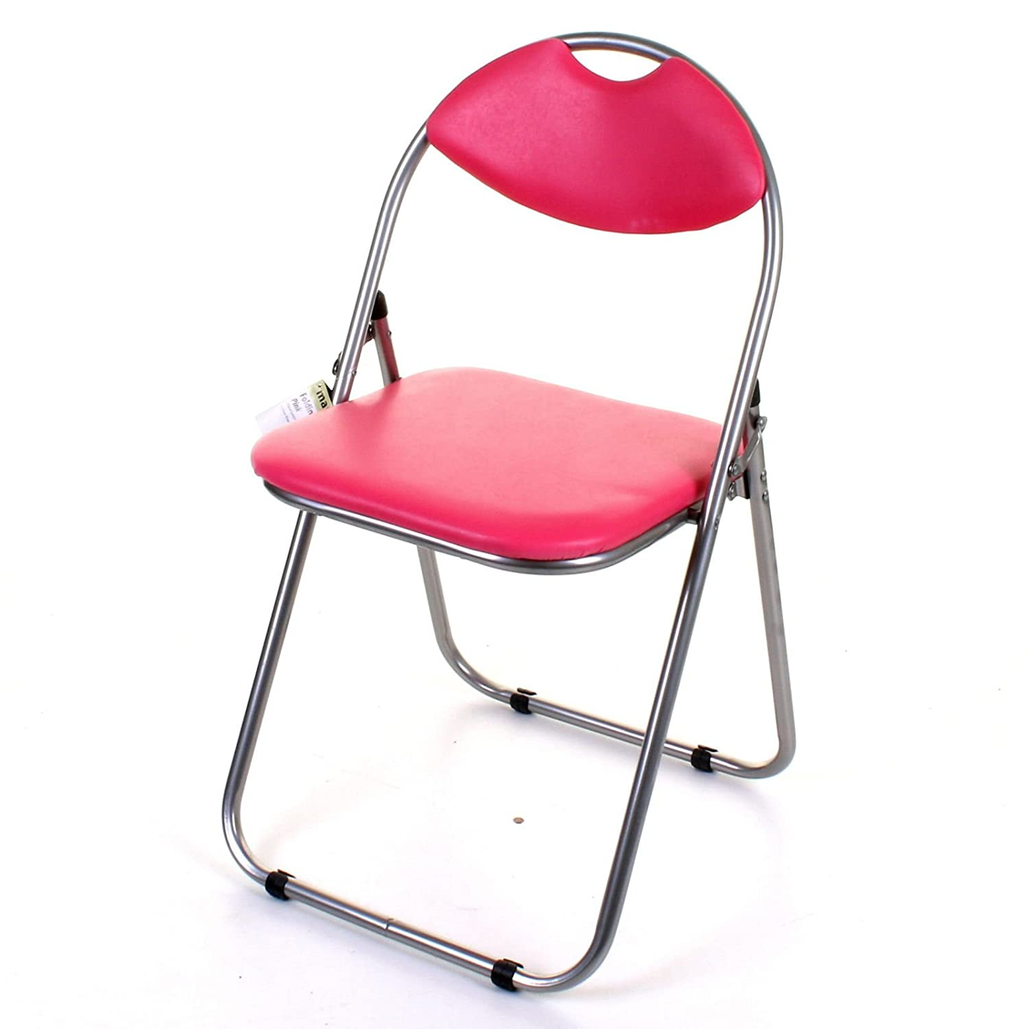 Marko Furniture Black & Pink Faux Leather Folding Chair Padded Seat & Back Rest Computer Office (Black)