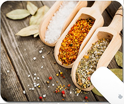 Nutmeg Leaf (Luxlady Gaming Mousepad 9.25in X 7.25in IMAGE: 34527752 mixed spices for fish and chicken cooking and salt in wooden scoops bay leaves and pepper corns on old vintage table)