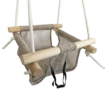 Hi Suyi Wooden Secure Hanging Swing Hammock Toy for Infant to Toddler Indoor and Outdoor Include Safety Belt: Toys & Games [5Bkhe2002312]