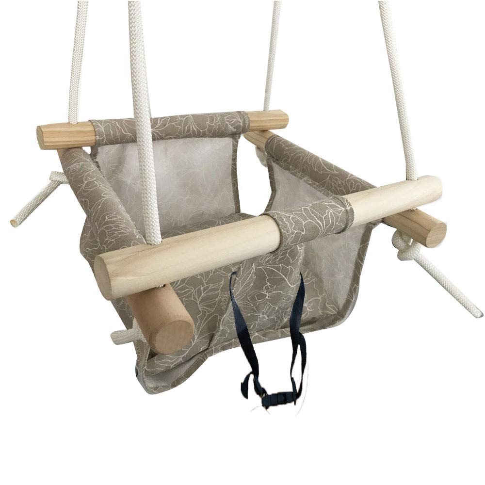 Hi Suyi Wooden Secure Hanging Swing Hammock Toy for Infant to Toddler Indoor and Outdoor Include Safety Belt