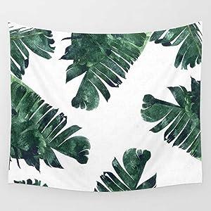 "Shukqueen Fresh Banana Leaf Printed Wall Art Hanging Tapestry Dorm Decor (51"" H x 60"" W,Banana Leaf1)"